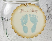 Tags for baby shower - Baby footprint gift tags - Favor tags - baby tags - baby boy - Set of 12