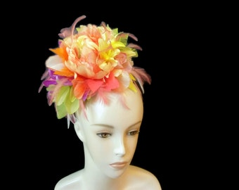 """Parrot Head, Margaritaville, Jimmy Buffet Style Party Fascinator Headband, In a Tropical Rainbow of Bright Pastel Colors - """"Let's Party"""""""