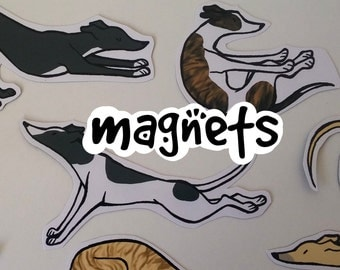 Yoga Greyhound Cute Decorative Magnets! Pack of 6 - Custom Made to Order
