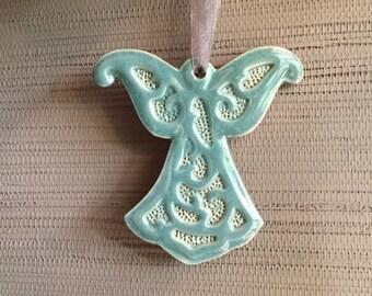 Turquoise / Robins Egg Blue Angel Ornament