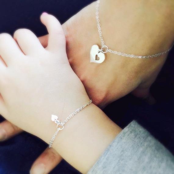 Mother Daughter Bracelet Set Two Heart By Otisbjewelrygifts