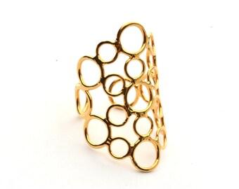 Gold Ring - Geometric Ring -  Adjustable Ring - Modern Ring - Round Ring - Statement Ring -  Stone Ring - Lace Ring - Romantic Ring