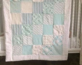 Teal quilt aqua vintage chenille quilt upcycled white lap blanket wheelchair wrap