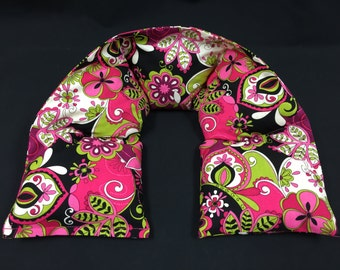 Heated Neck Wrap, Corn Heating Pad, Microwavable Corn Bag, Massage Therapy, Heat Therapy Bag - Hot Pink, Green, Black, White Floral
