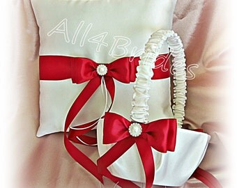 Wedding ring pillow and basket, red and white ring bearer pillow and flower girl basket set.
