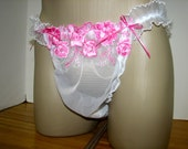 Sheer and Slippery Pink Dress Up Sissy Panties Roomy Wide Crotch Full or Open Bum