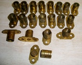 Brass Curtain Rod Mounts Screw In Threaded Brackets Hardware Poles Bars Lot 20 old vintage antique