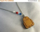 r2d2 lasercut wood pendant ... adorable r2d2 Star Wars necklace with asymmetrical partial beaded chain