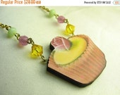 Cupcake necklace ... vintage print wood pendant cupcake necklace with beadery ... yummy in the tummy