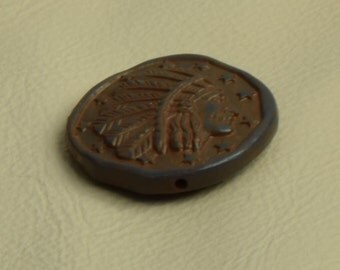 Indian Chief button, 29mm, turquoise plating, sold 2 each 08320TQ