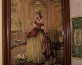 Antique Print French Girl Romantic Dog Stool Interior color under glass old wooden frame