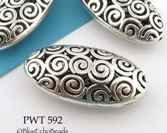 42mm Extra Large Hollow Pewter Oval Focal Bead (PWT 592) 1 pc BlueEchoBeads