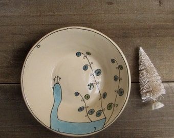 Ceramic blue peacock bowl, winter woodland home decor, serving bowl