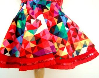 PIXEL MANIA Circle girl skirt handmade with geometric colourful fabric