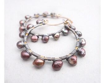 Wire Wrapped Hoop Earrings, Pearl Hoop Earrings, Brown Pearls, Mixed Metal Hoops, Chunky Hoop Earrings, Beaded Hoops, Brass Hoop Earrings