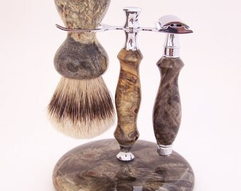 Buckeye Burl Wood 26mm Super Silvertip Shaving Brush and Edwin Jagger Double Edge (DE) Razor Gift Set (Handmade in USA) B1- Anniversary Gift