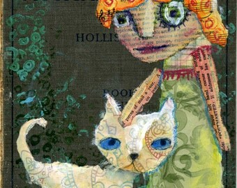 Nice Kitty Mixed Media Modern Contemporary Original Raw Folk Art Painting on Vintage Hymnal Cover