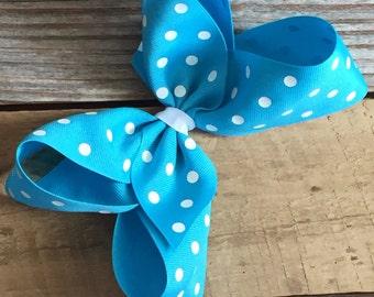 "6"" Turquoise Polka Dot Boutique Bow"