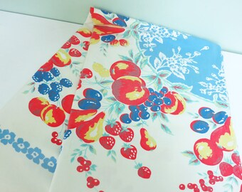 1940s Tablecloth with Fruit & Flowers, Cherries, Apples, Pears, Strawberries and More in Red, Blue, Yellow and Aqua Green