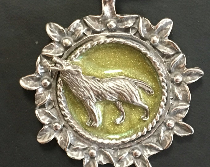 Wolf pendant on leather necklace. Handmade in Australia. Pewter and Resin