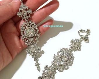 Clip On Earrings, Long Dangle Chandelier Earrings, Statement Bridal Earrings, Victorian Wedding Earrings, Vintage Bridal Jewelry, CLEOPATRA