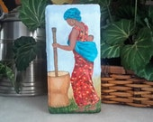 African American Art, Painting On Brick, Painted Doorstop, Mother and Child Painting, Painted Paver, Acrylic Painting, Woman Working Image