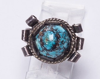 Navajo Turquoise Dome Pawn Ring -  Mid Century Native American Sterling - sz 6 1/2