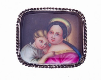 Antique Hand Painted Pin / Brooch - Sterling Set Portrait - Madonna & Child