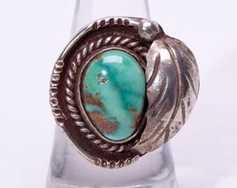 Navajo Royston Turquoise Ring - 70s Pawn - sz. 6 1/2