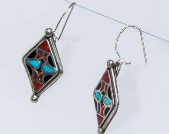 Old Pawn Earrings - Hopi Sterling Overlay / Inlay Hooks