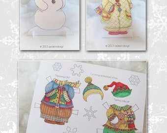 Snowman Paper Doll - Coloring Page - PDF - Instant Download