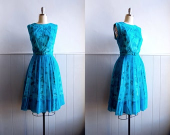 1960s Turquoise Blue Chiffon Floral Dress // 60s Party Dress