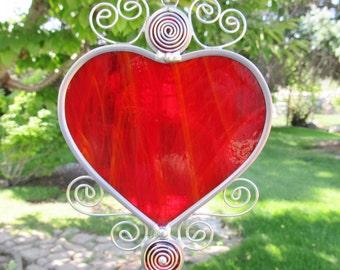 Stained Glass Heart Suncatcher Home Decor Heart Suncatchers Window Hanging Glass Suncatchers Leaded Suncatcher