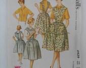 Vintage 60s Bib Apron and Shirt Pattern McCalls 2429 Size 10 Bust 31