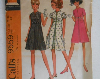 Vintage 60s Empire Waist Pleated Dress Pattern McCalls 9559 Size 11 12 Bust 32