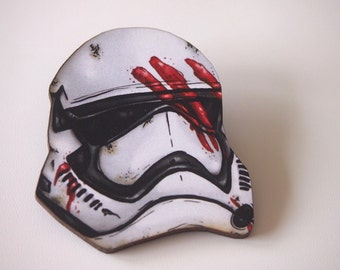 Finn Storm Trooper Helmet- Star Wars - Laser Cut Wood Brooch