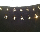 Vintage 50s Gold Seed Beaded Black Gloves with Rhinestones