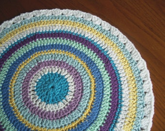 Mandala, Beach Colors, For Table Top, Centerpiece, Doily, Crocheted Cotton Yarn, Blue, Mint Green, Yellow, Aqua