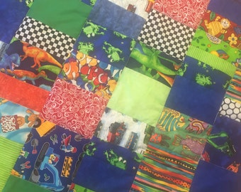Fun crazy quilt Primary colors with trucks//new baby boy//baby shower//unique baby gift//handmade baby gift// baby boy