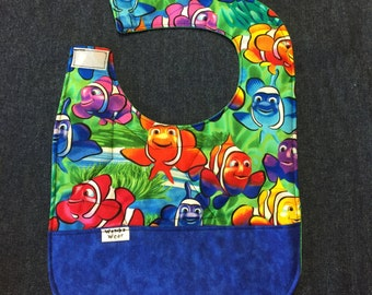 Reversible fish bib becomes four in one