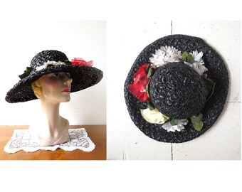 Mr. John Hat / 1960s Hat / Black Wide Brim Hat / Floral Hat