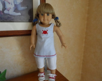 "Doll Outfit for American Girl Doll Pants Top Crab  18"" doll clothes"