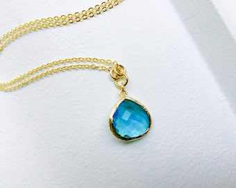 Blue zircon - Tear Drop - Crystal Glass Gold Long Necklace