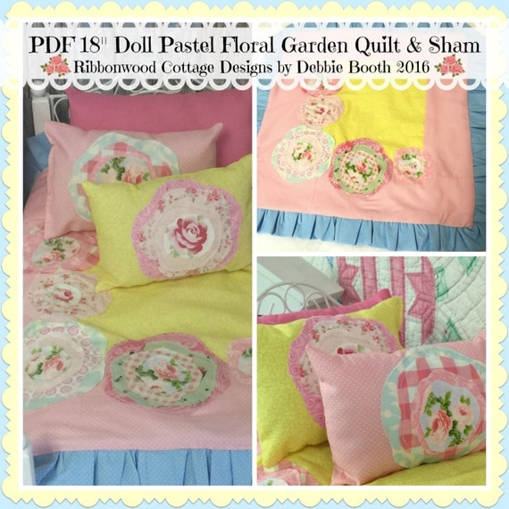 Sewing Pattern PDF American Girl Doll Pastel Garden Quilt and Sham