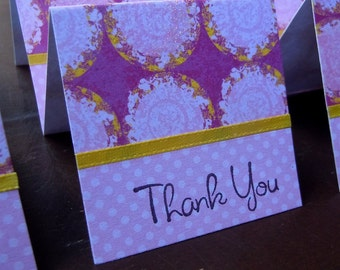 Large Pink and Yellow Dots Mini Thank You Cards 2x2 (6)