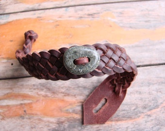 Leather Wristband with Serpentine Touch Stone  - Celtic Weave of Life Spanish Leather Bracelet -- For Men or Women