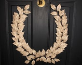 Rustic Wedding Gold & Brown Bark Laurel Bay Leaf Crest Wreath Peace Victory Everyday Olympic Faux Artificial