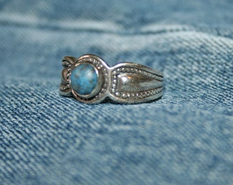 Vintage Denim and Sterling Silver Blue Stone Semi Precious