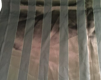Black & Brown Striped Satin Fabric
