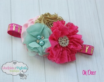 Deer Baby headband { Oh Deer } hot pink, aqua, gold, Woods, country, hunting Headband, first birthday cake smash photography prop